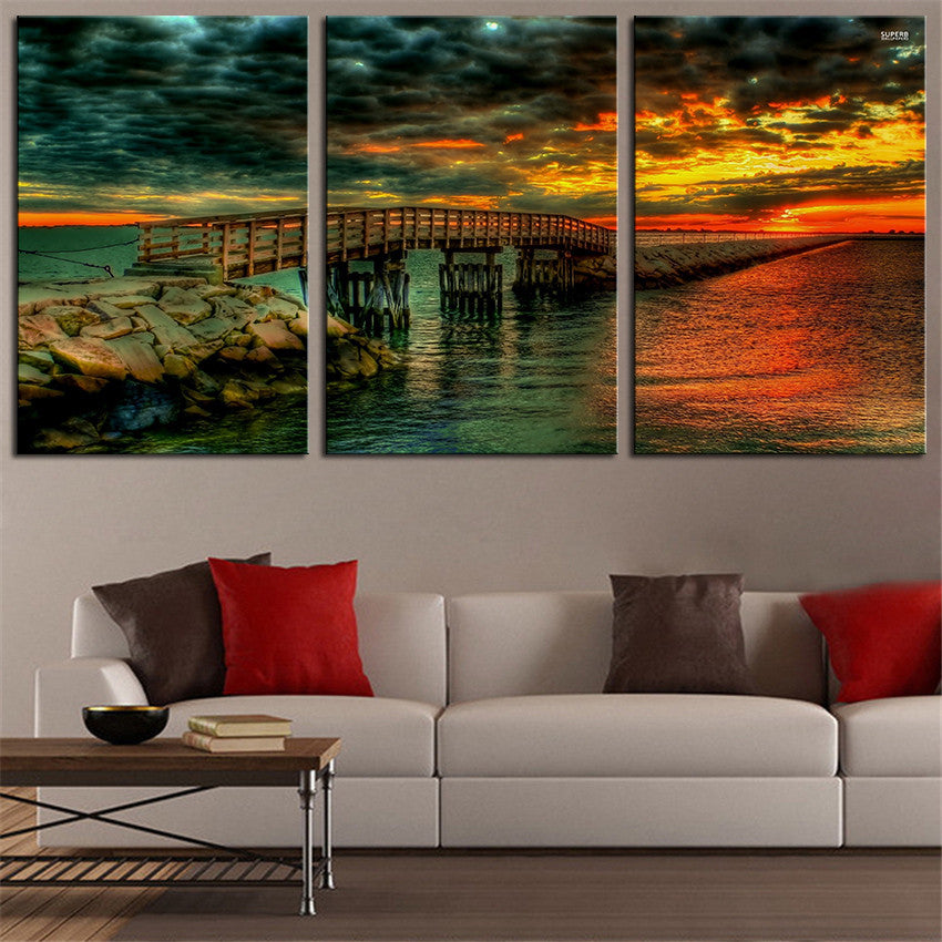 NO FRAME 3pcs glorious sunset over the pier Printed Oil Painting On Canvas wall Painting for Home Decor Wall picture