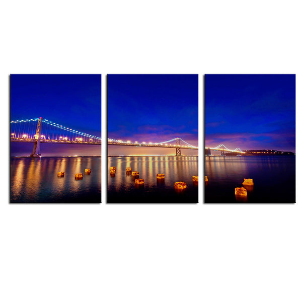 NO FRAME 3pcs golden gate bridge at night Printed Oil Painting On Canvas wall Painting for Home Decor Wall picture