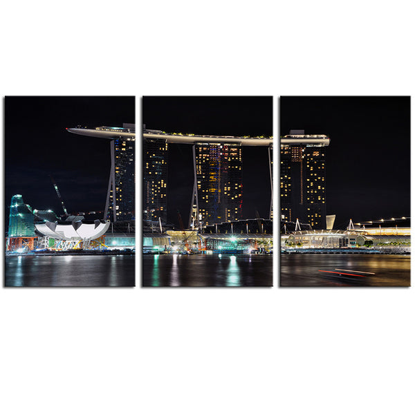 NO FRAME 3pcs night-view-of-singapore-marina-sand Printed Oil Painting On Canvas Oil Painting for Home Decor Wall Decor