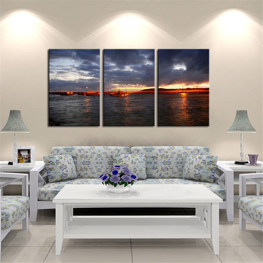 NO FRAME 3pcs agulhas sunset Printed Oil Painting On Canvas wall Painting for Home Decor Wall picture