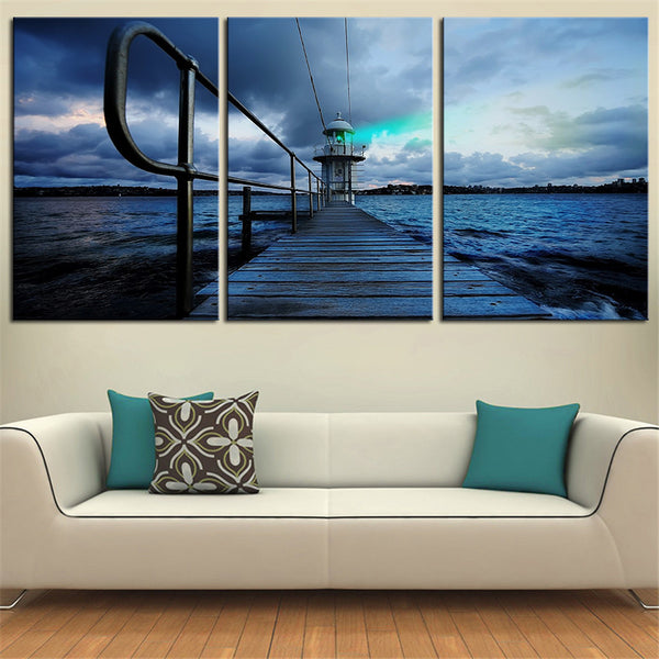 NO FRAME 3pcs blue port landscape Printed Oil Painting On Canvas wall Painting for Home Decor Wall picture