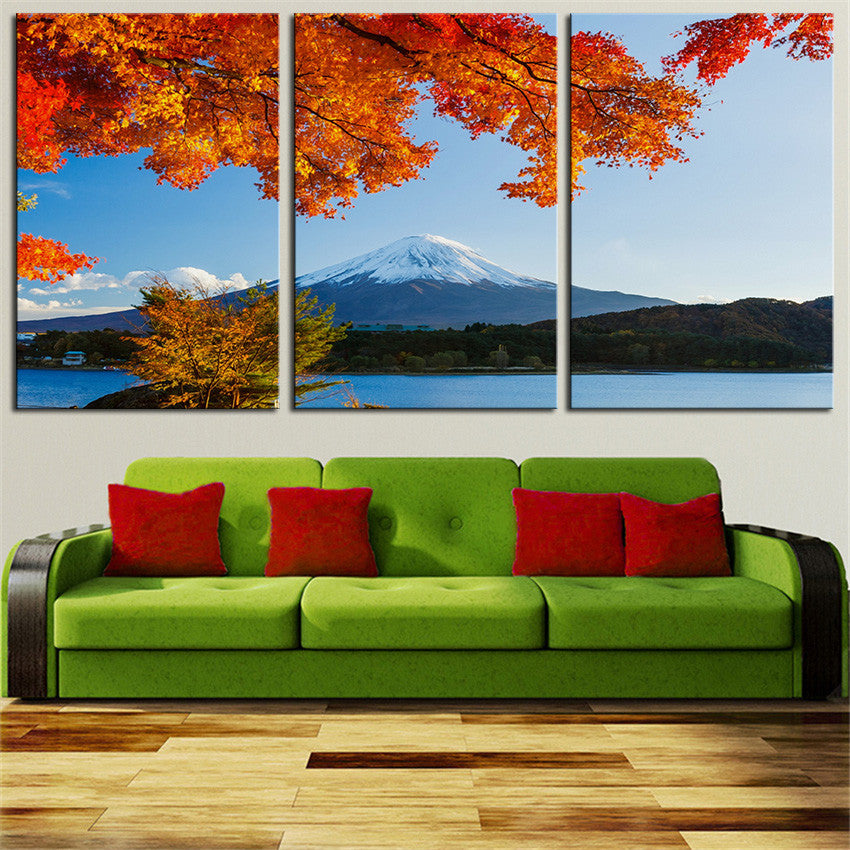 NO FRAME 3pcs autumn trees winter mountain Printed Oil Painting On Canvas wall Painting for Home Decor Wall picture
