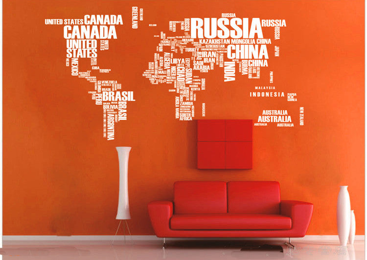 Text World map wall decals - WallDecal