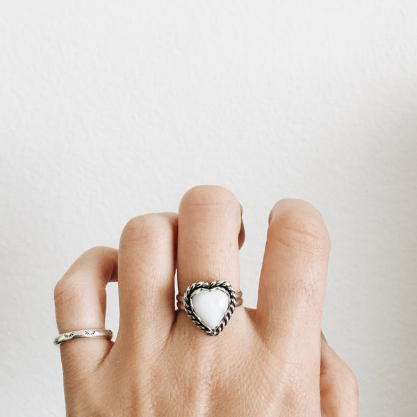 White Buffalo Heart Ring
