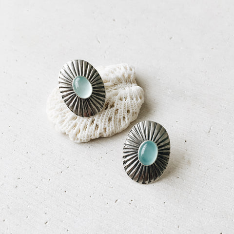 Chalcedony Concho Earrings