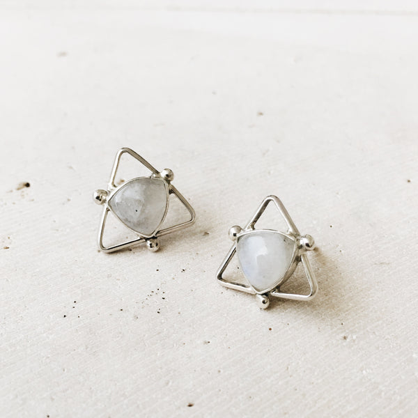 Rainbow Moonstone Triangle Earrings