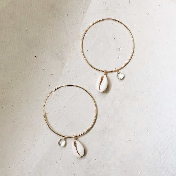 Cowrie Shell 4way Hoop Earrings