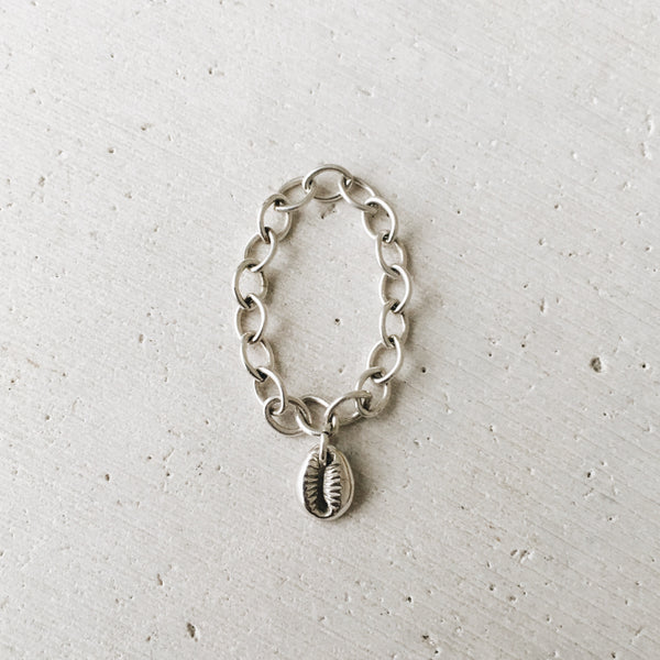 Silver Cowrie Shell Charm Ring