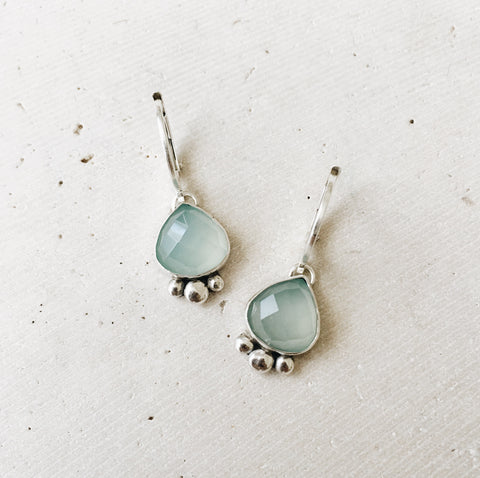 Chalcedony Heart Drop Earrings