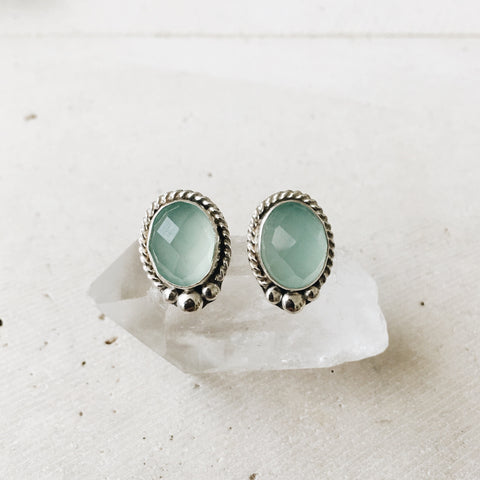 Chalcedony Post Earrings