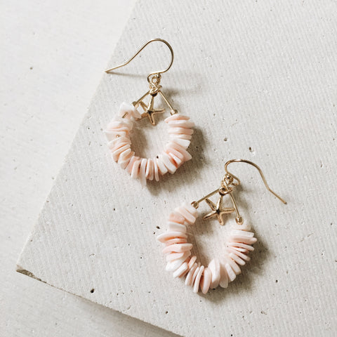Pink Shell Hoop Earrings