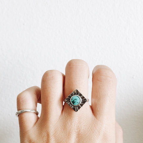 Tibetan Turquoise Diamond Concho Ring