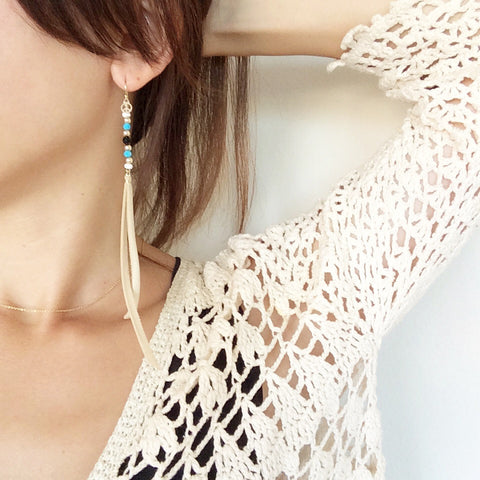 Bohemian Leather Tassel Earrings