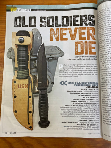 Mark 1 Knife featured in Blade Magazine August 2021 issue