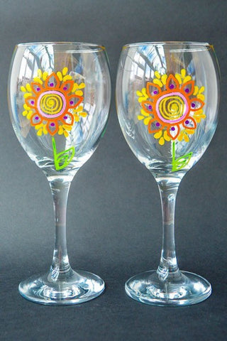 Daisy pop wine glasses