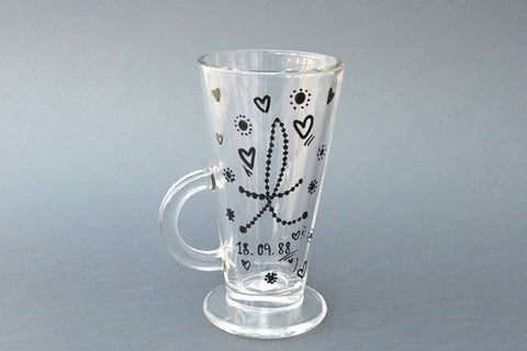 initial me once latte glass