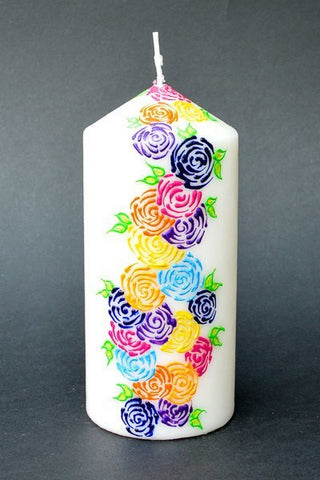 Garden of roses pillar candle