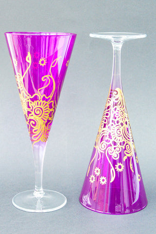 Golden Paradise Personalised Wine Glasses