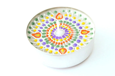 kaleidoscopic rainbow tea lights