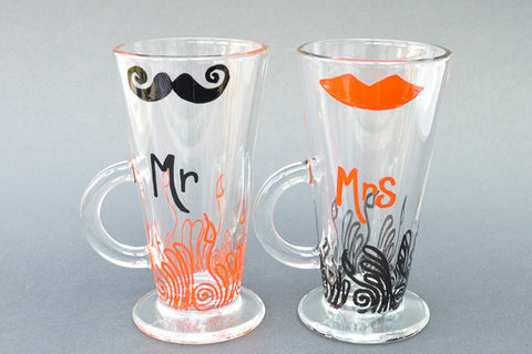 Mr and mrs personalised latte glasses
