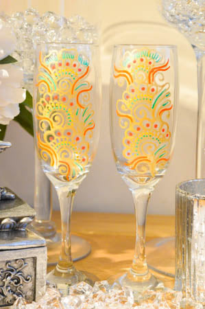Orange Fizz Personalised Champagne Flute