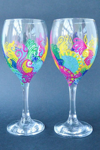Rainbow sky wine glasses