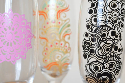 Decorative champagne flutes