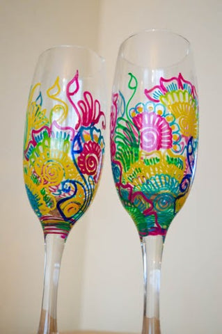 Rainbow love champagne flutes