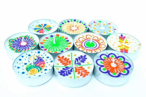 Henna Personalised Jumbo Tealights - Kaleidoscopic Party (Pack Of 10 Assorted)