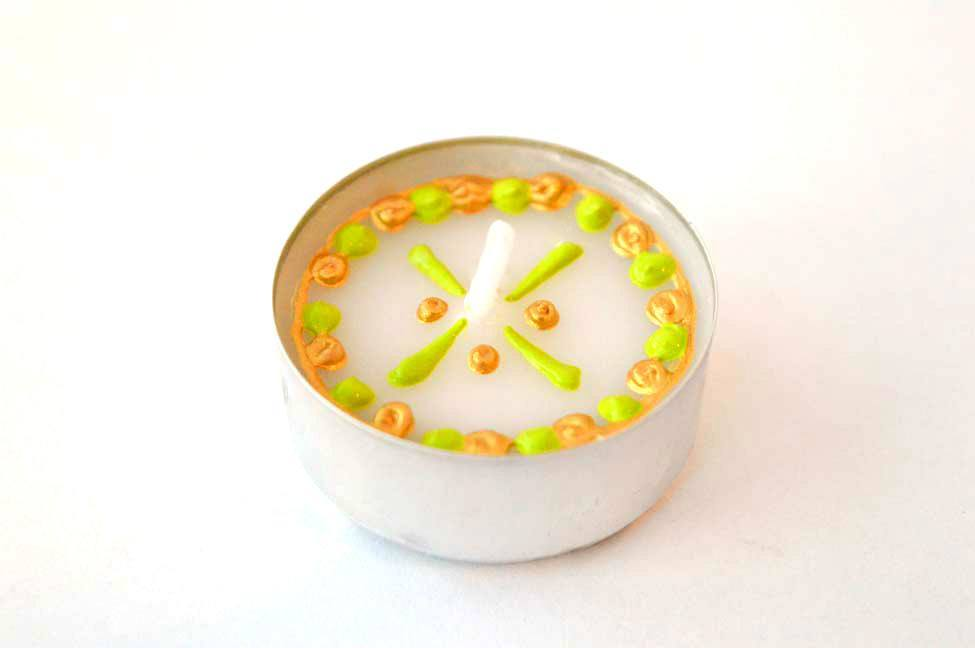 Henna Personalised Tealights - Lime - Gold Fiesta (Pack Of 10)