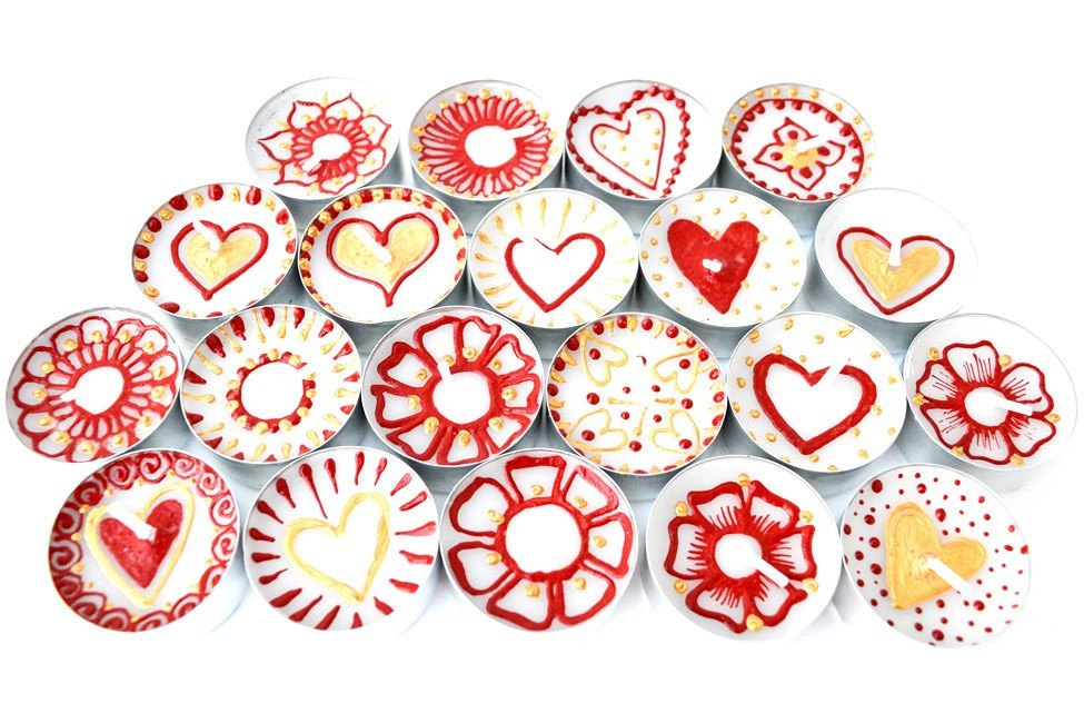 Henna Personalised Tealights - Love Is In The Air (Pack Of 20 Assorted)