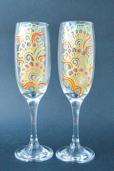 Personalised Champagne Flutes - Orange Fizz (Set Of 2)
