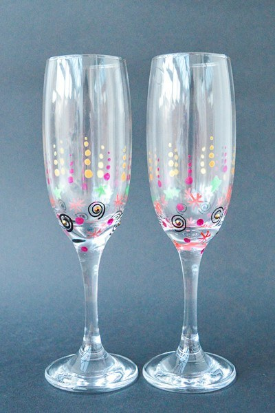 Personalised Champagne Flutes - Party Pop (Set Of 2)