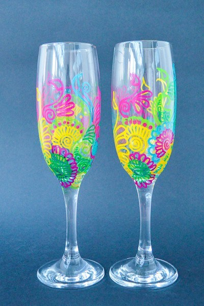 Personalised Champagne Flutes - Rainbow Love (Set Of 2)
