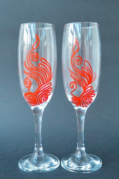 Personalised Champagne Flutes - Rouge Fun (Set Of 2)