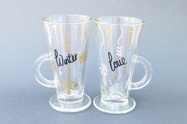 Personalised Latte Glasses - Winter Romance (Set Of 2)