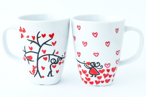 Personalised Mugs - Branching For Love (Set Of 2)