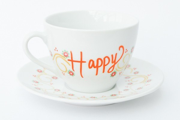 Personalised Tea Cups - Happy Days