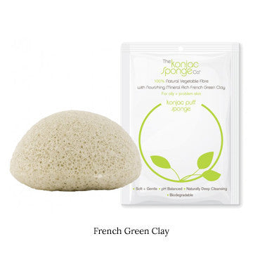 Konjac Facial Sponge French Green Clay - Ideal for Normal To Oily Skin