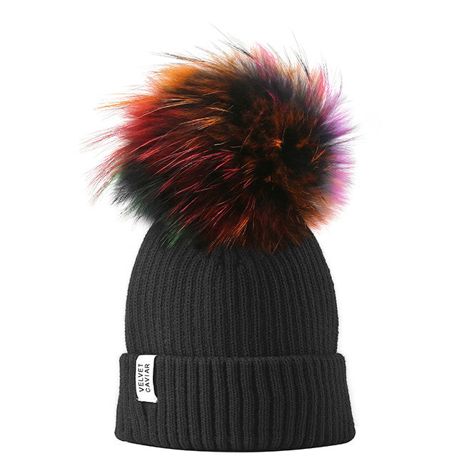 Lux Black Beanie Rainbow Fur Pom