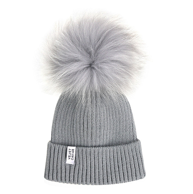 Lux Gray Fur Pom Beanie Light Gray