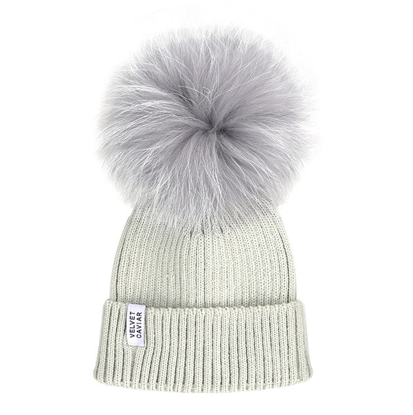 Lux Ice Gray Fur Pom Beanie