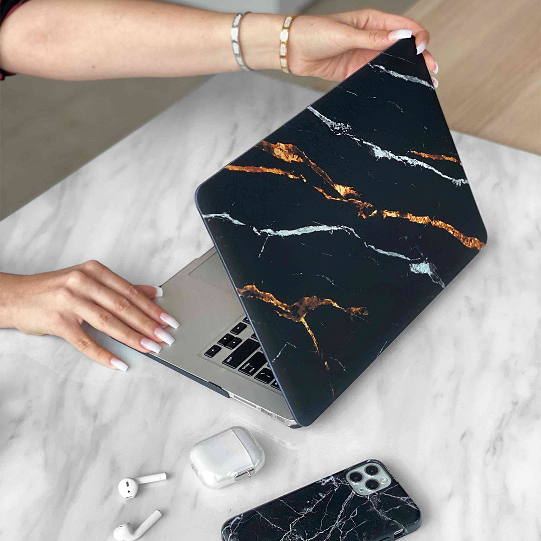Tiger Black Marble MacBook Case