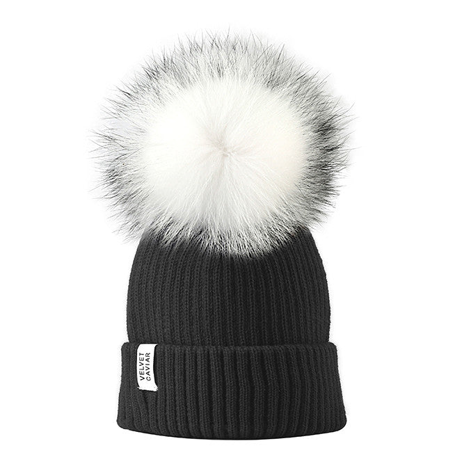 Lux Black Beanie White Fur Pom