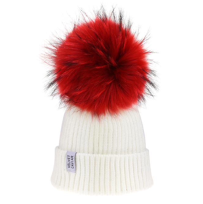 Lux White Beanie Ruby Pom Fur
