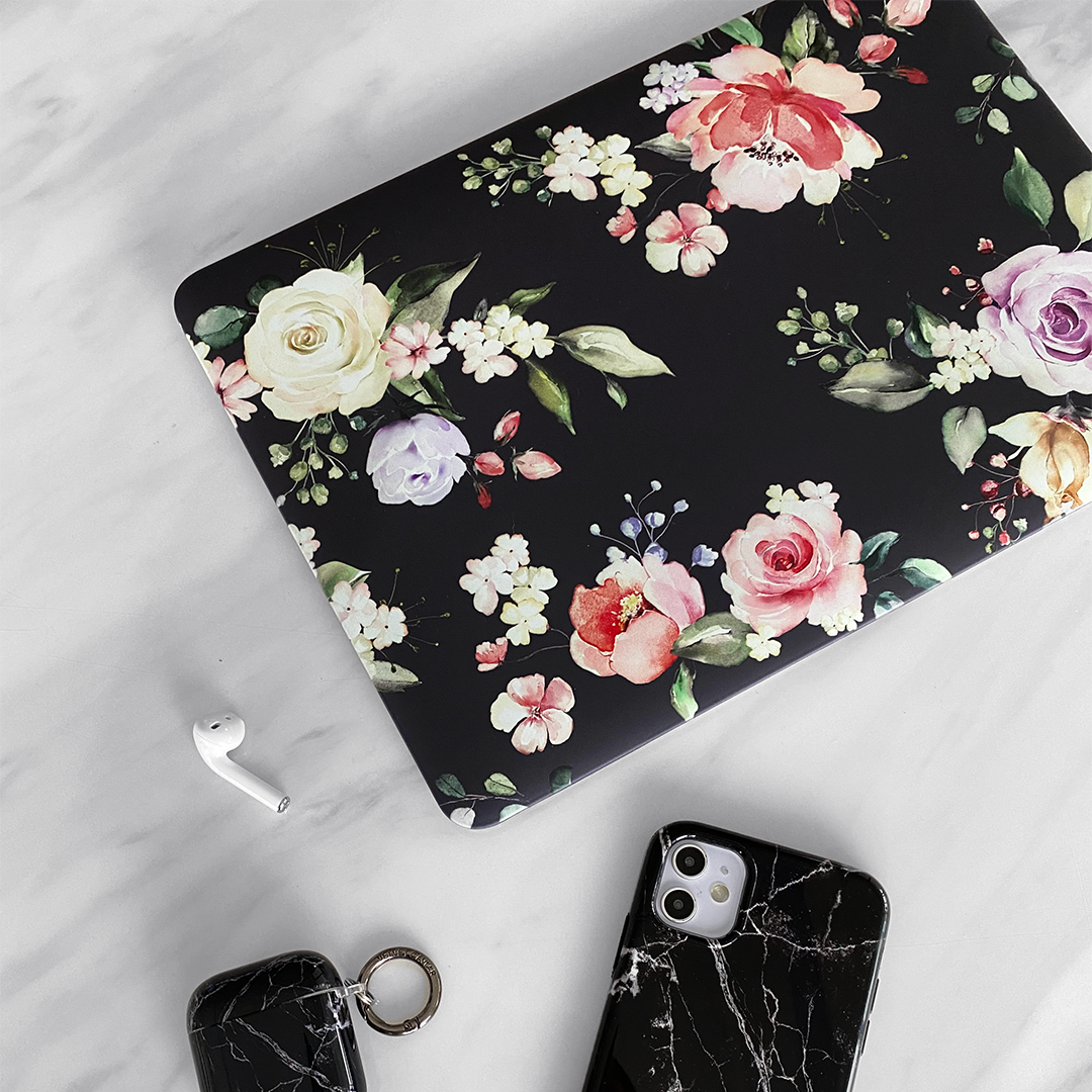 Black Floral MacBook Case