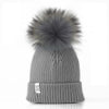 LUX FUR POM BEANIE GRAY WITH GRAY FUR