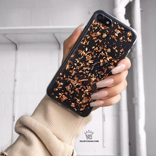 Rose Gold Flakes iPhone Case