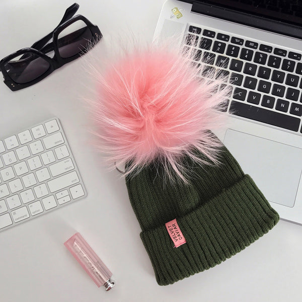 Lux Watermelon Fur Pom Beanie