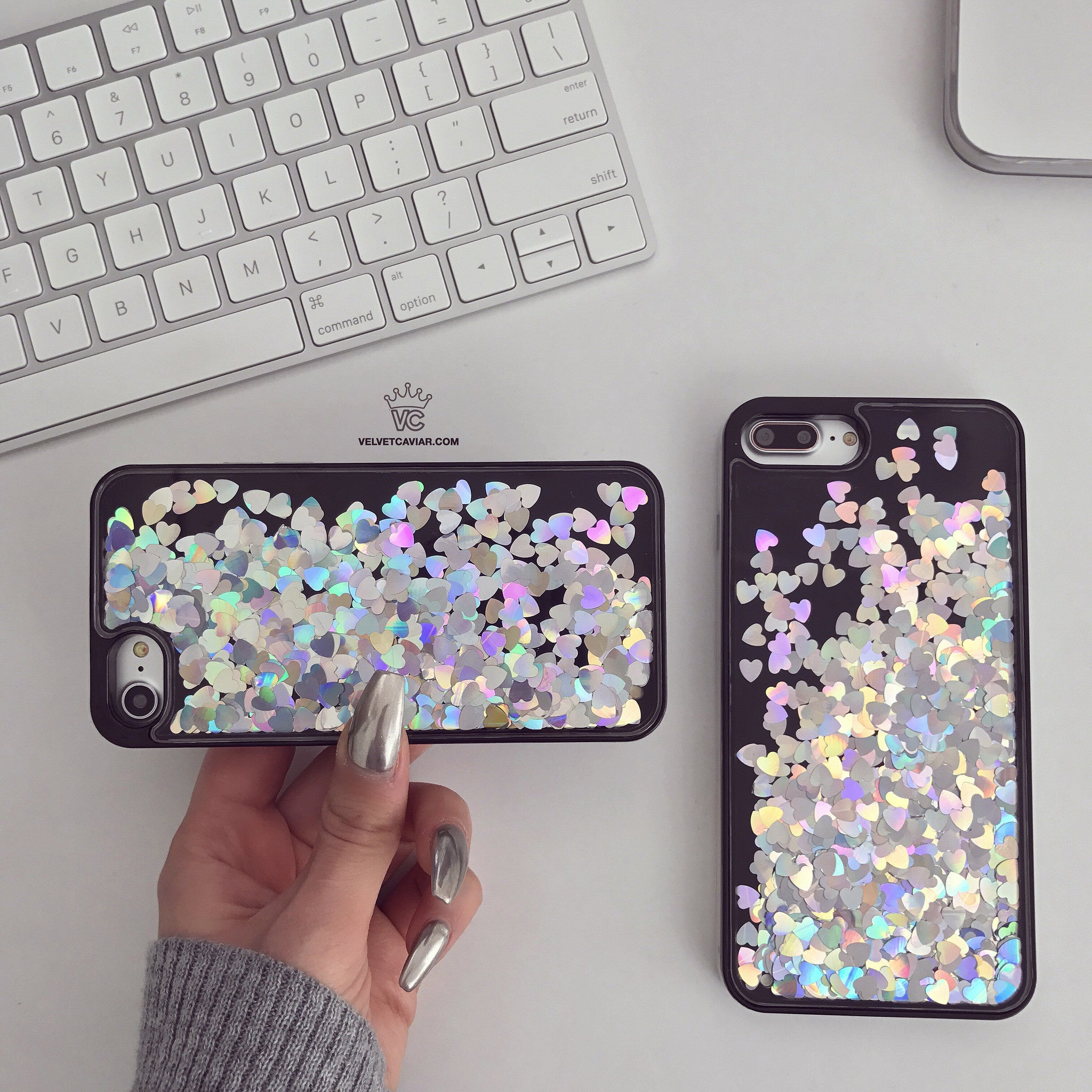 Holo Hearts iPhone Case